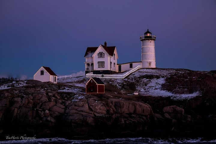 Nubble Light decked out in it's Christmas lights