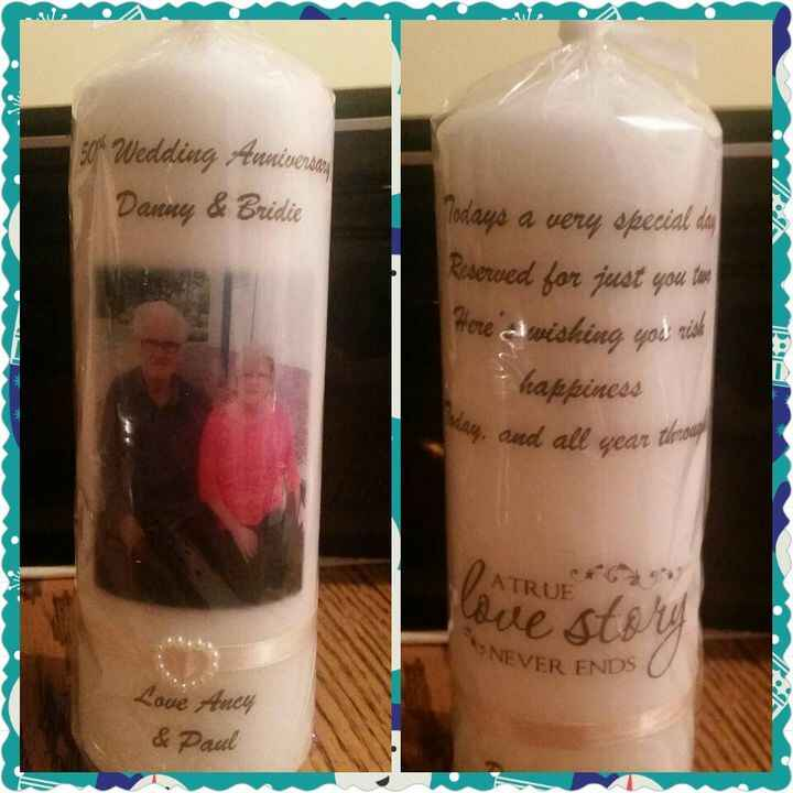 Front and back of anniversary candle