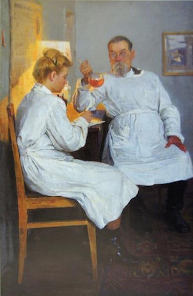 Lopuchov Alexander, Chemistry Exam, 1953, oil on canvas,115x74,5
